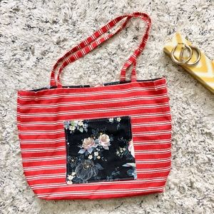 Homemade Floral Striped Tote Bag with Pockets